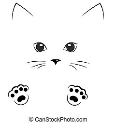 vector black outline drawing cat gir face with paws