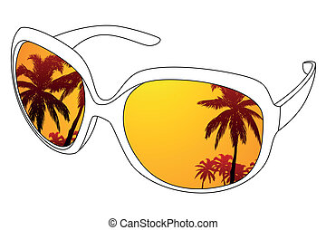 sunglasses - Vector black outline sunglasses and tropic...