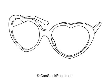 sunglasses - Vector black outline sunglasses on white...