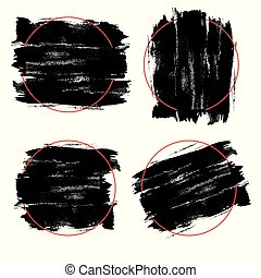 Vector black paint, ink brush stroke, brush, line or texture. Dirty artistic design element, box, frame or background for text. Grunge style.