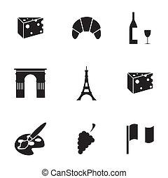 Vector black paris icons set