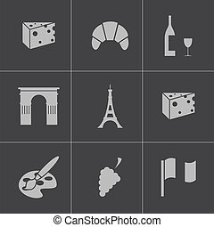 Vector black paris icons set