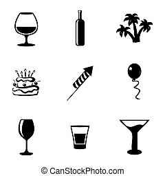 Vector black party icons set