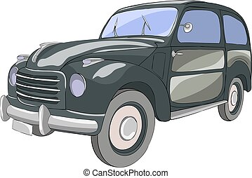 Vector. Black passenger car on a white background. - Black...