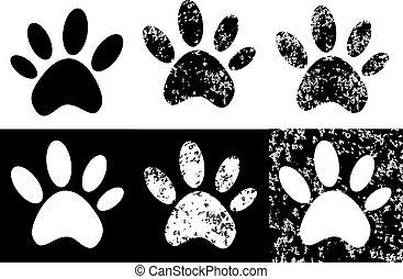 Black paw print  grunge