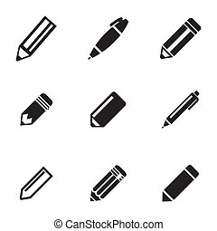 Vector black pencil icons set on white background