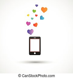 Vector black phone with bright hearts. Colorful logo design
