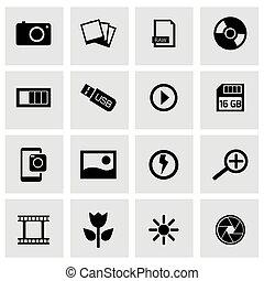 Vector black photo icons set