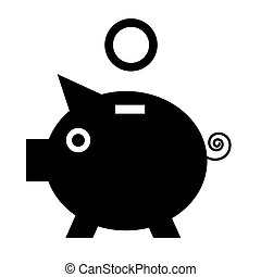 Vector Black Pig Icon with Coin