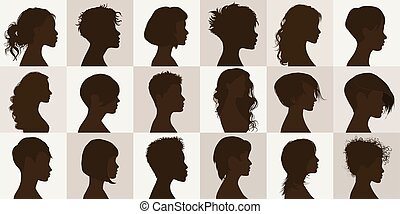Vector black profile silhouette set with female haircut. Collection face anonymous portrait and isolated women heads with modern hairstyle. Group of beautiful glamorous girls. Coiffure