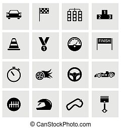 Vector black racing icons set