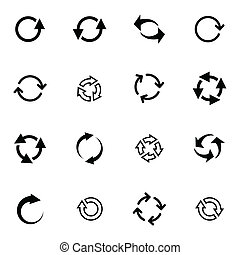 Vector black refresh icons set on white background