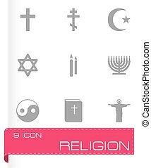 Vector black religion icons set