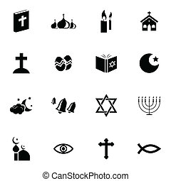 Vector black  religion icons set on white background
