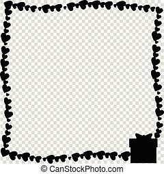 Vector black retro frame made of hearts with present box silhouette in corner.