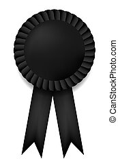 Vector black ribbon award isolated on white. Eps10