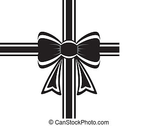 black ribbon with bow - vector black ribbon with bow on ...