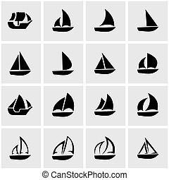 Vector black sailboat icon set