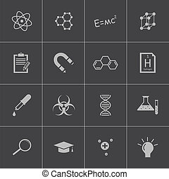 Vector black science icon set