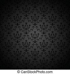 Vector black seamless ornament background - wallpaper with ...