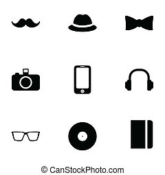 vector, black , set, hipster, iconen