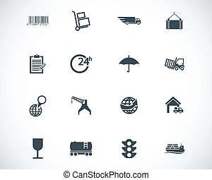 vector, black , set, logistiek, iconen