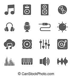vector, black , set, muziek, iconen