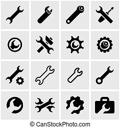 Vector black settings wrench icon set