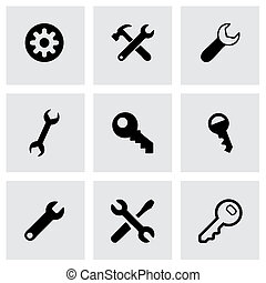 Vector black settings wrench icons set on grey background