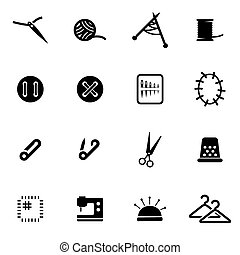 Vector black sewing icon set on white background