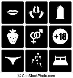 Vector black sex icon set