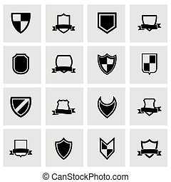 Vector black shield icon set