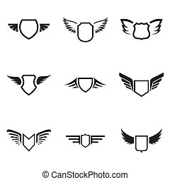 Vector black shield icons set on white background