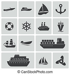 Vector black ship and boat  icons set