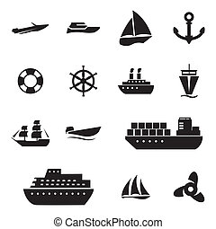 Vector black ship and boat  icons set on white background