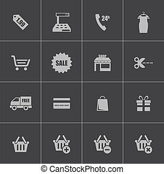 vector, black , shoppen , iconen, set
