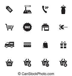 vector, black , shoppen , iconen, set