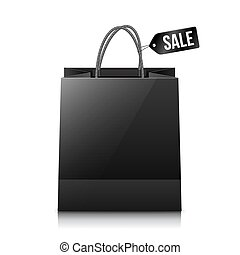 Vector black shopping bag with sale tag