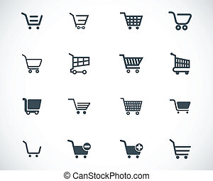 Vector black  shopping cart  icons set