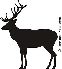 Vector black silhouette horned deer icon side view