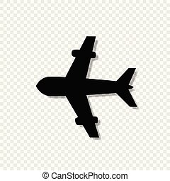 airplane icon isolated on transparent background.