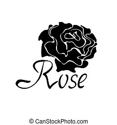 Vector black silhouette logo with rose