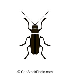 Vector black silhouette of a beetle