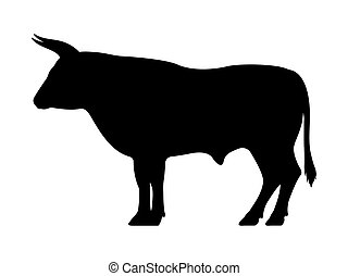 Vector black silhouette of a bull