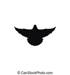 Vector black silhouette of a flying dove on white