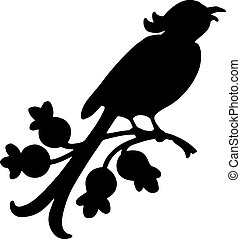 vector black silhouette of a singing bird on a branch