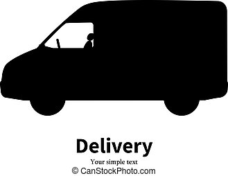 Vector black silhouette of a truck delivery
