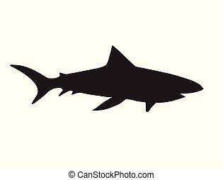Vector black silhouette of swimming shark