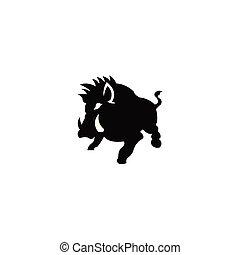 silhouette of the wild boar