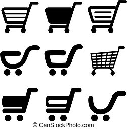 Vector black simple shopping cart, trolley, item, button - illustration